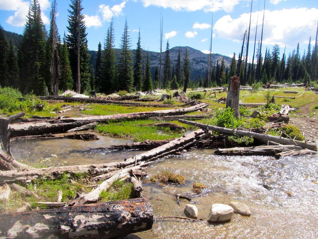 Slab Butte above a stream