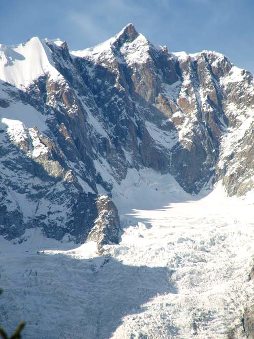 Angry Mont Maudit begins to vent downstream ice 2015