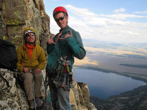 Welch(left) and myself(right in the blue windbreaker) preparing to rock the 4th and final pitch of the Southwest Ridge of Symmetry Spire, Teton Range, WY