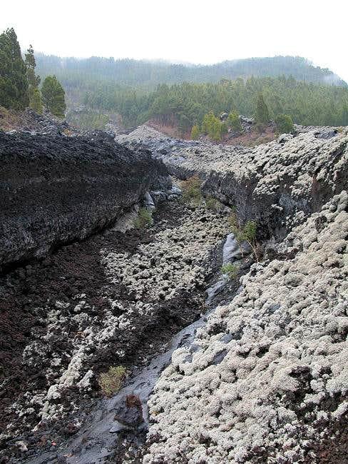 Crossing the lava field...