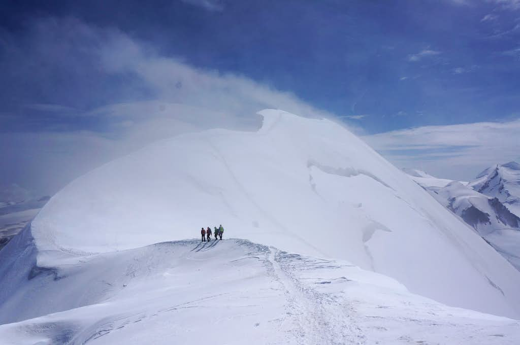 Climbers ascending Breithorn Central (13648 ft / 4160 m)