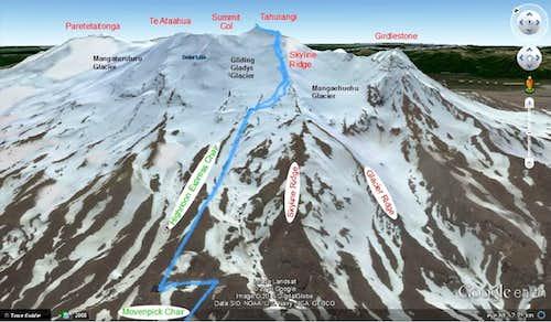 Ruapehu - Skyline Ridge route map