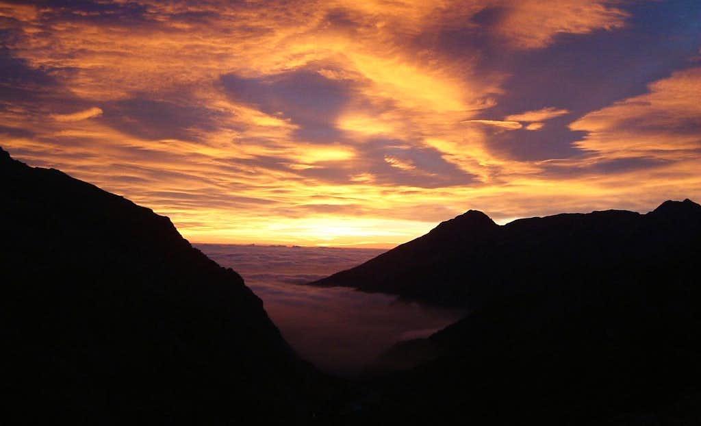 Sunrise seen from Canalone delle Capre