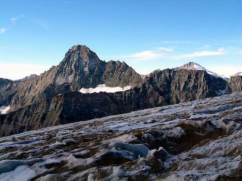 Dry condition of Ciamarella Glacier in october