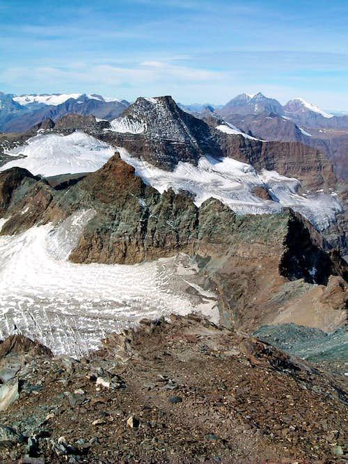 Ciamarella Glacier and surrounding seen from Uja di Ciamarella