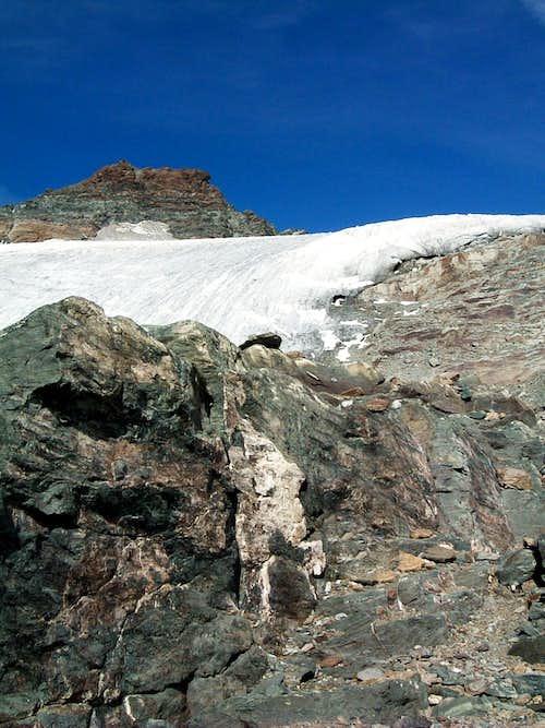 Near the start of Ciamarella glacier