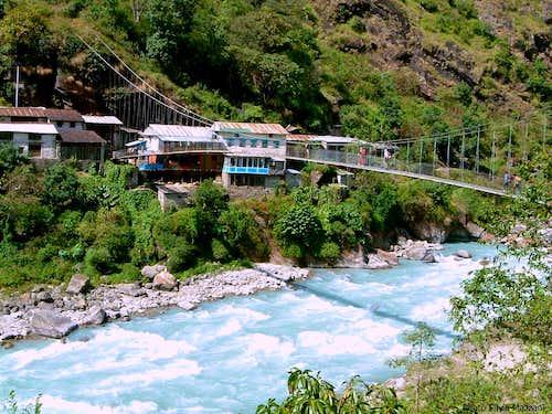 Hanging bridge in Marysandi Valley, Annapurna trail                       Valley