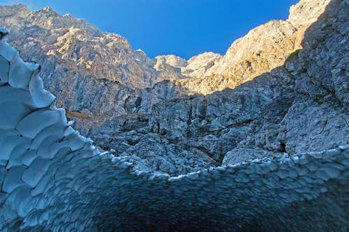 Looking up the Watzmann east face from the