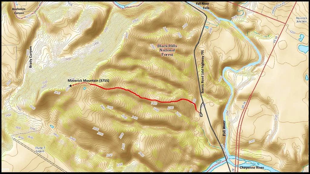 Maverick Mountain Route Map