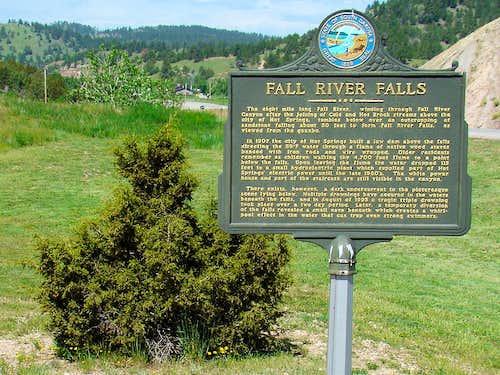 Fall River Falls Sign