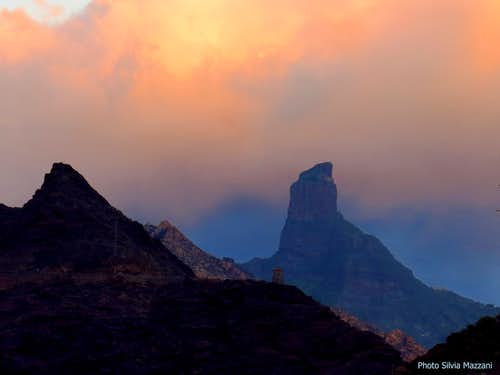 Sunset over Roque Bentayga, Gran Canaria