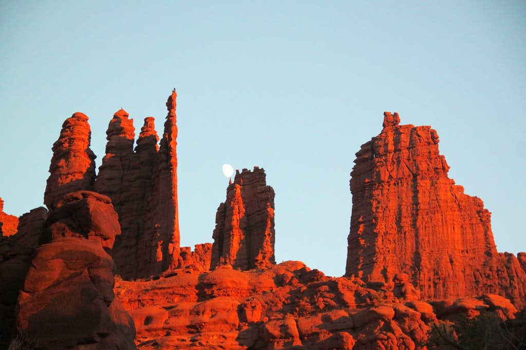 Moon over Fisher Towers