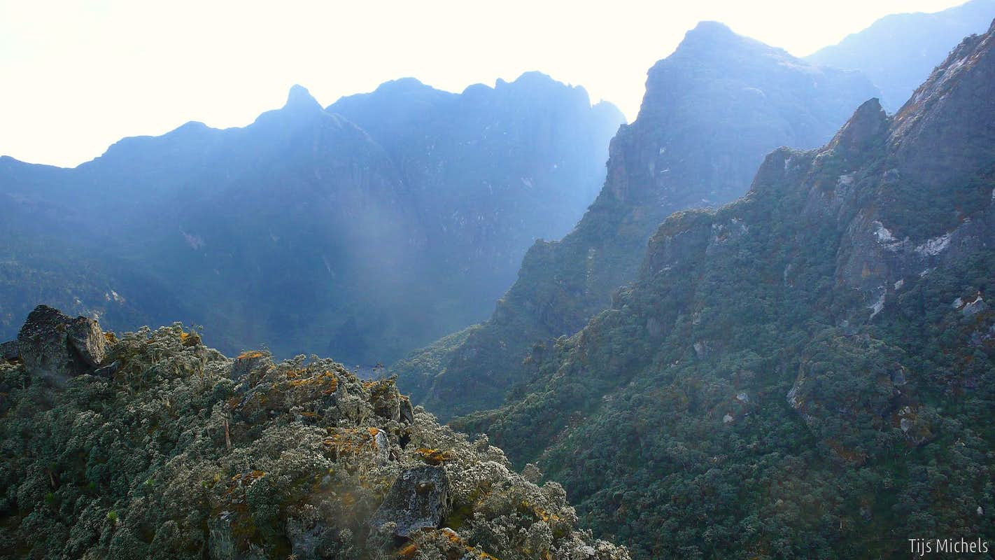 Towering cliffs of the Rwenzori, rising above 4000m
