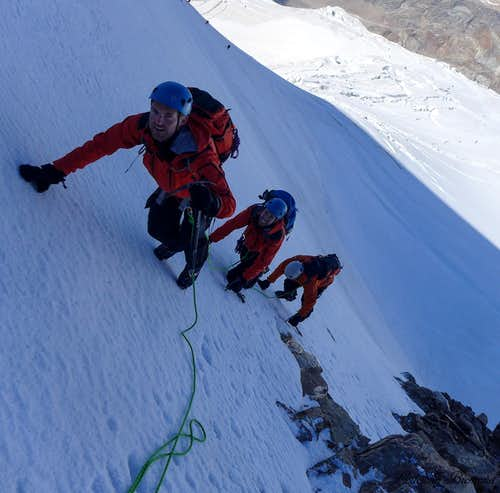 Climbing on the steepest part of the West Face