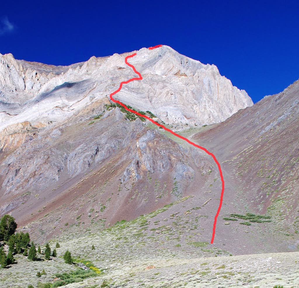 Approximate Route, East Slope of Mt. Morrison