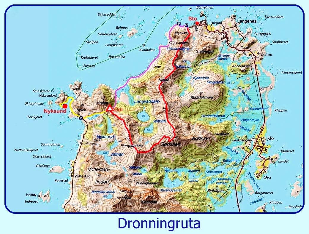 Dronningruta The Queens Route Climbing Hiking - Vesteralen norway map