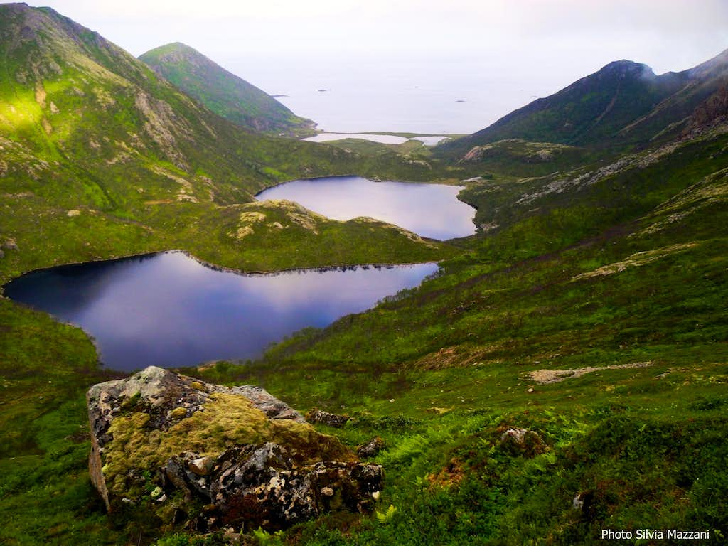 Langvaddalsvatnet lakes seen from the mountain branch, Dronningruta