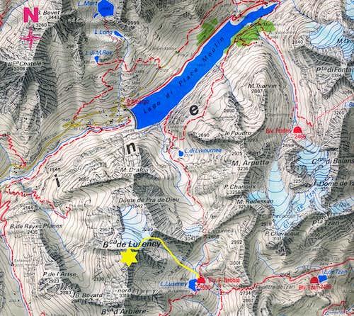 Becca di Luseney map