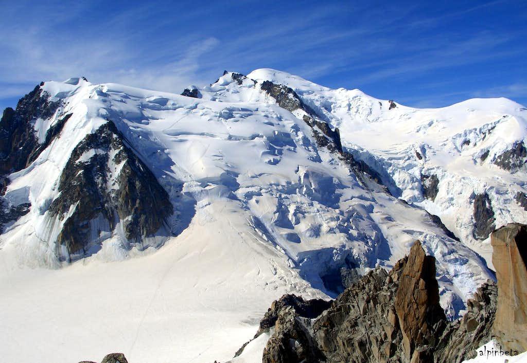 Mont Blanc du Tacul, Mont Maudit and Mont Blanc seen from Aiguille du Midi