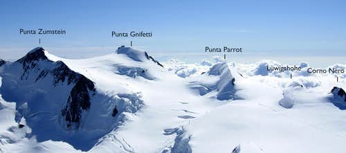 Monte Rosa summits annotated panorama