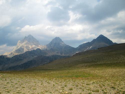 The Grand Teton(left) the Middle Teton(middle) and the South Teton(right) seen from Hurricane Pass, Teton Range, WY