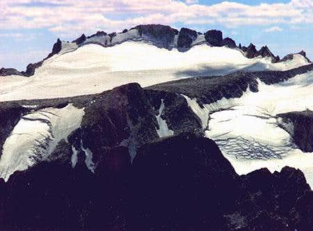 The pinnacled summit ridge...
