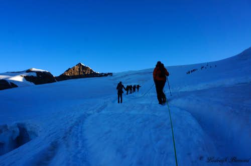 Ascending the Lys Glacier with Lykamm behind