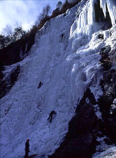 Climbing on Wuse falls,...