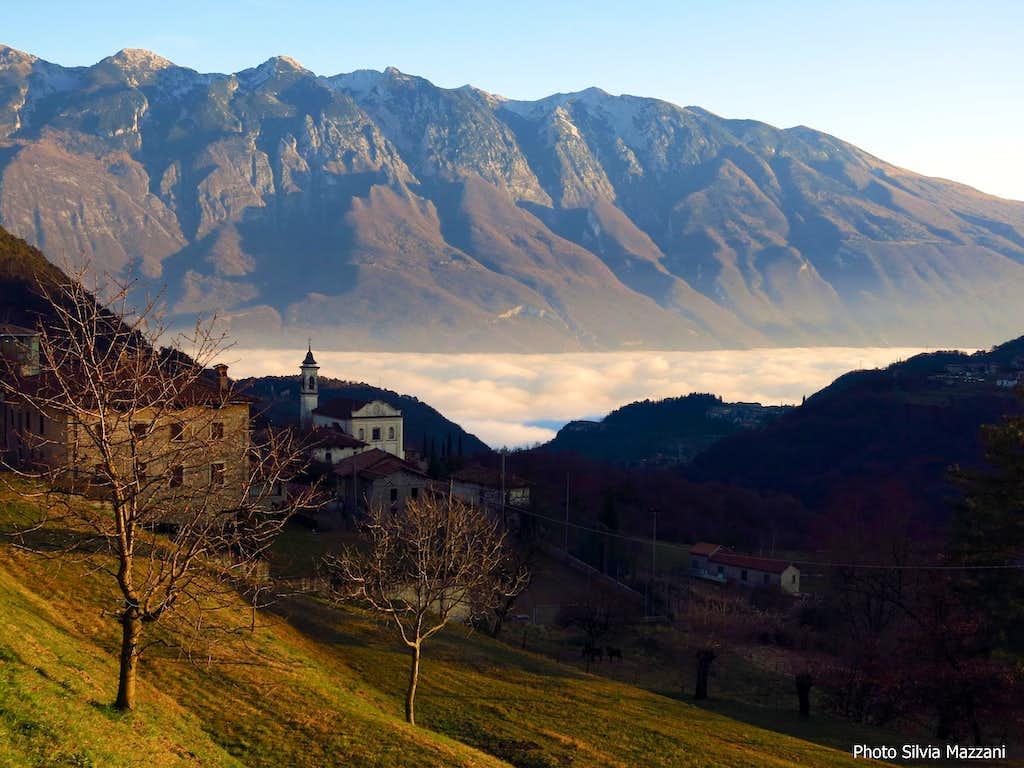 Monte Baldo and Garda Lake within the clouds