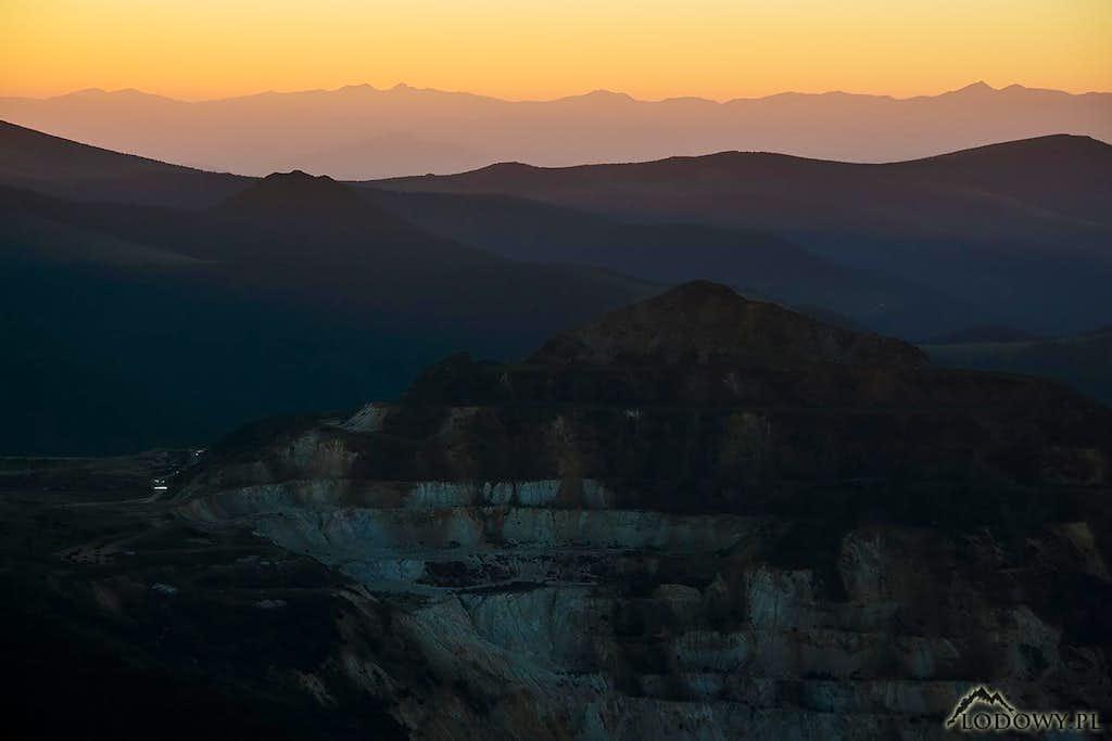 Rodnei mountains on sunset horizon