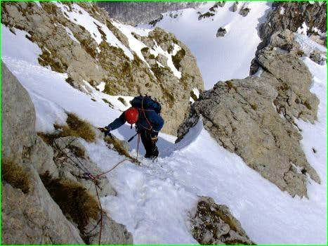Climbing the N-ridge in the...