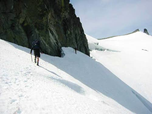 The traverse near the summit