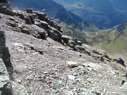 looking down close to the summit