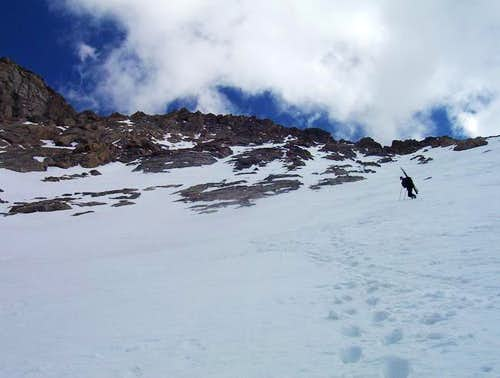 Climbing on the snowfield...
