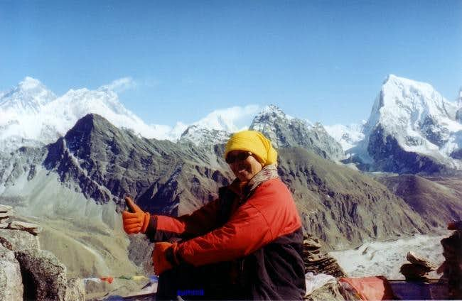 At the summit of Gokyo Ri...