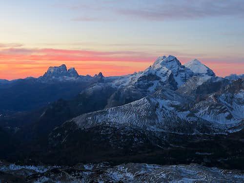 Sunrise on Mt. Pelmo and Tofane