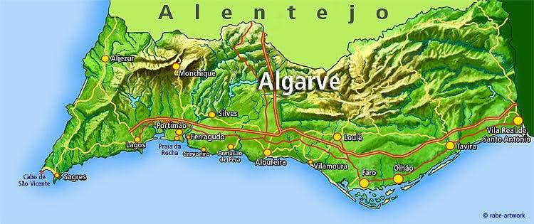 Foia Map Algarve Region Photos Diagrams Topos SummitPost - Portugal map algarve region