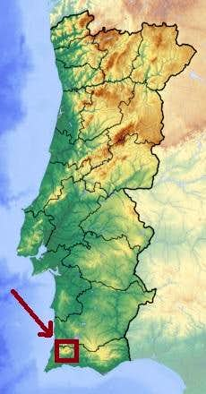 Portugal Topographic Map with the location of Foia
