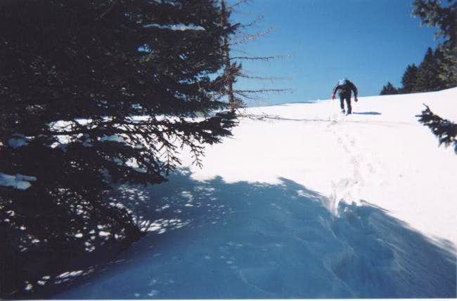 Hiking steep snow