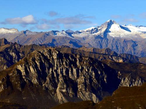 Carè Alto (back) and Monte Misone seen from Monte Biaena