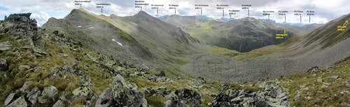 Annotated panorama from the Haiderscharte to the SW