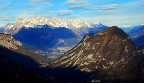 Great view of Monte Misone (ahead) and Brenta Dolomites (back) from Cima d'Oro