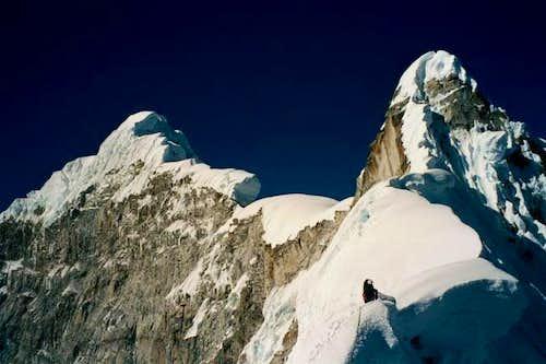 Heading up the scary NW ridge...