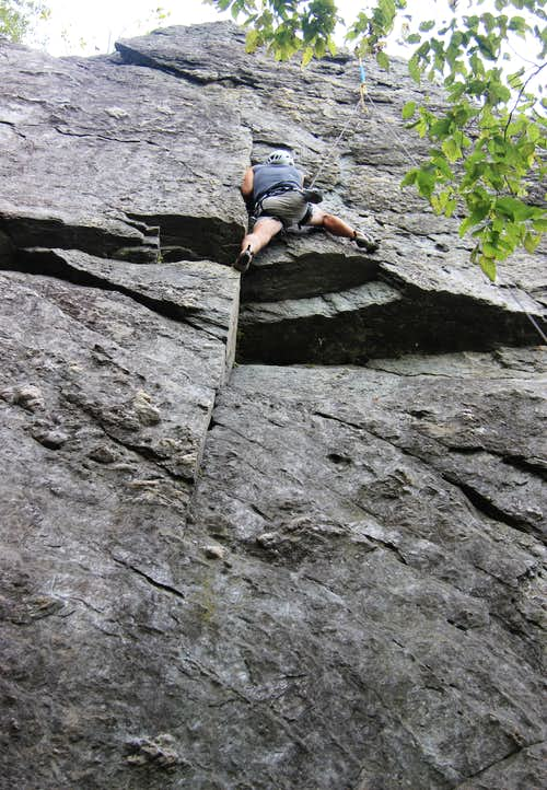 Pulling the Overhang on Fingernail (5.10b)