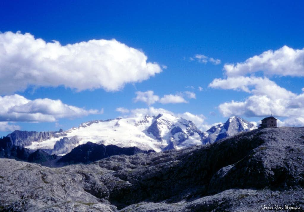 Marmolada glacier seen from Vallon