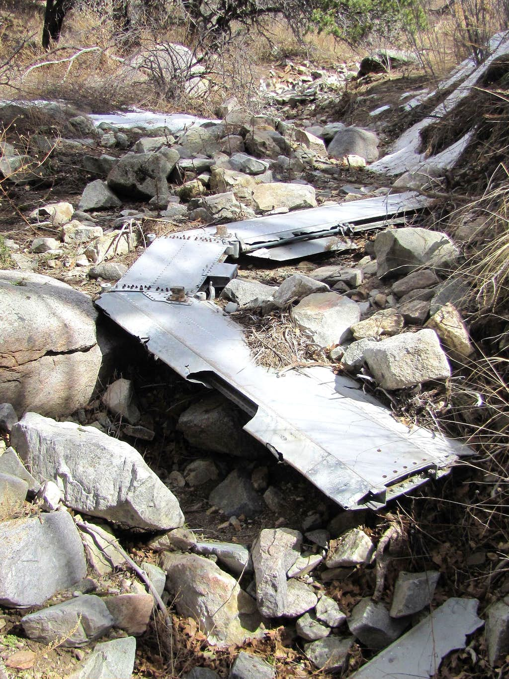 Remains of crashed airplane