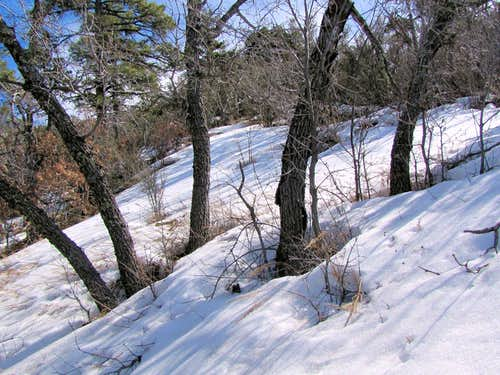 Hiking up the snowy ridgetop