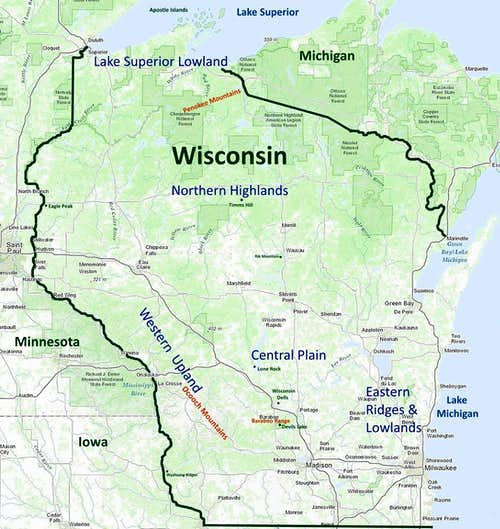 Niagara Escarpment Wisconsin Map.Wisconsin Summits Trails Climbing Hiking Mountaineering
