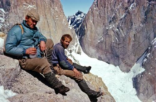 Don Whillans and Chris Bonington at the base of Central Tower of Paine, January 1963