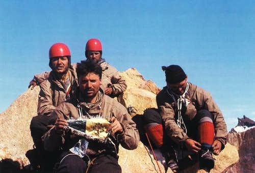 Armando Aste and companions on the summit of Central Tower of Paine, January 1963